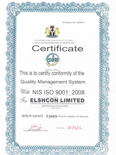 Elshcon Nigeria Limited (ENL) Awarded ISO 9001:2008 from